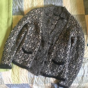 Banana Republic Wool Knit Sweater Navy Taupe